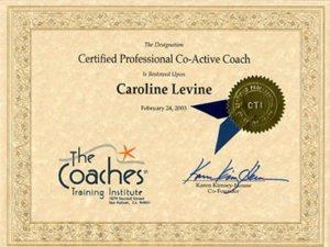 Caroline Levine CTI CPCC Certificate, since 2003